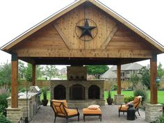 outdoor patio designs with fireplaces with water features and kitchens | metal roof covered patio stone patio fireplace and water feature