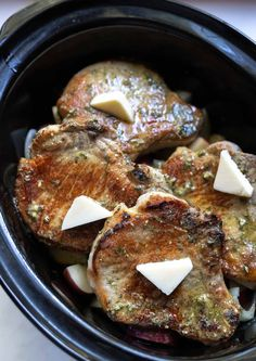 Crockpot Ranch Pork Chops and Potatoes is a super quick, easy and no-fuss weekday dinner recipe. Just drop everything in your slow cooker and forget about it. Slow cooker pork chops will be a new family favorite! Crockpot Dishes, Crock Pot Cooking, Crockpot Recipes, Potatoes Crockpot, Skillet Potatoes, Easy Recipes, Healthy Recipes, Pork Chops And Potatoes, Crock Pot Pork Chops