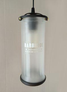 Barbershop lamps from upcycled Barbicide jars, created by Stephanie Reppas, October Design Co. #barbicide #barberjar At Home Salon Station, Salon Stations, Vintage Lamps, Upcycled Vintage, Vintage Decor, Brass Lamp, Pendant Lamp, Barber Shop Decor, Diy Light Fixtures