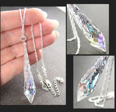 Swarovski Aurora Clear Crystal Necklace, April Birthstone Sterling Silver Prism Crystal Pendant Necklace Clear AB Crystal Victorian Necklace - Best Of Likes Share Crystal Pendant, Clear Crystal, Crystal Earrings, Crystal Jewelry, Crystal Pendulum, Cute Jewelry, Jewelry Accessories, Jewelry Design, Bridal Accessories