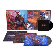 """Follow Dio through the band's early years with A DECADE OF DIO: 1983-1993, a new box set that brings together their first six studio albums, each featuring newly remastered sound.    It includes:  Holy Diver (1983)  The Last In Line (1984)  Sacred Heart (1985)  Dream Evil (1987)  Lock Up The Wolves (1990)  Strange Highways (1993)      This 6-LP VINYL set with a 7"""" SINGLE features new artwork by Marc Sasso, who was responsible for many of the band's iconic covers."""