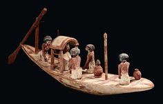 Egyptian painted wood model of a boat, First Intermediate Period-Middle Kingdom, 62 cm long. Sea Peoples, All About Africa, Papyrus, Achaemenid, Gods And Goddesses, Stone Art, Ancient Egypt, Painting On Wood, Archaeology