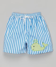 This Blue Stripe Whale Swim Trunks - Infant is perfect! #zulilyfinds