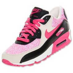 Womens Nike Air Max 90 Running Shoes | FinishLine.com | SAIL/BIRCH/BLACK/PINK FORCE