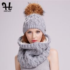 6a91e58d5be  34 - Cool Furtalk winter women knitted hat and scarf set raccoon fur pom  pom beanie