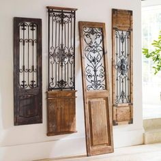 Vintage Gate Artwork: Our Vintage Gates artwork is crafted from generously distressed wood and metal. The rustic wooden frames and inset finials resemble found artifacts that are sure to complement most any decor. Design Toscano, Door Design, House Design, Design Design, Gate Design, Interior Design, Wrought Iron Decor, Rod Iron Decor, Wrought Iron Beds