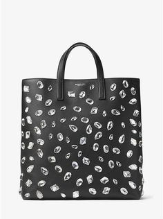 Michael Kors Carolyn Black Large Crystal Embellished Leather Magnetic Snap Tote #Doris_Daily_Deals #Bonanza http://www.bonanza.com/listings/465280540