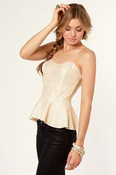 Sexy Gold Top - Bustier Top - Strapless Top - Peplum Top - $33.00 New Years?  #lulusholiday