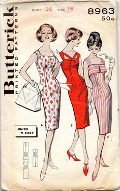 Butterick 8963 1960s Misses Quick Easy Sexy Sheath Dress Square Neck Camisole Top Cut Out Neckline womens vintage sewing pattern by mbchills