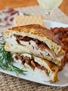 Turkey Monte Cristo with Rosemary Aioli - Turkey Monte Cristo - A delicious variation on the classic Monte Cristo sandwich using leftover Thanksgiving turkey, bacon and Gruyere cheese. The addition of the rosemary aioli is fantastic!