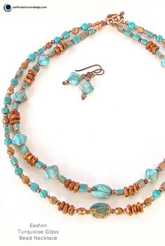 "Warm up your look with this beautiful handmade necklace set. Its jasper and turquoise gemstones and Czech glass create a wonderful blend of earthy warmth and style. 20"". This artisan jewelry was made"