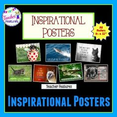"Posters: Inspirational Posters for classroom motivation7 posters with adorable animal photos. Image sized to fit a 8.5 x 11"" poster."