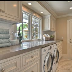 Love this Laundry Room! My dream laundry room inspiration! Laundry Room Storage, Laundry Room Design, Laundry In Bathroom, Basement Laundry, Storage Room, Laundry Area, Small Laundry, Downstairs Bathroom, Laundry Room Countertop