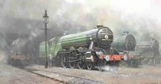 """steam trains british in paintings - David Shepherd signed, limited edition, prints, scotsman '34, paintings www.art.info 'Scotsman'34' Signed Limited Edition of 850 Image Size 17"""" x 32"""" Date of publication 1976 Complete with wash/line french bound mount."""