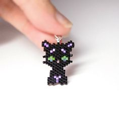 Black Panther Pendant, Cat Charm, Seed Bead Jewelry