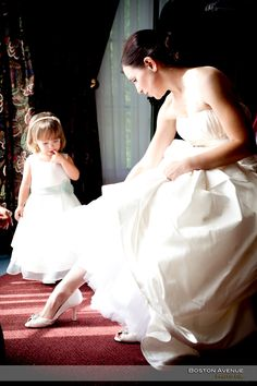 Bride showing sweet little flower girl her shoes at the King Valley Golf Club Boston, Golf, King, Club, Weddings, Bride, Wedding Dresses, Sweet, Flowers