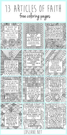 LDS Article of Faith Coloring Sheets - Jesus Quote - Christian Quote - These are amazing! LDS Article of Faith Coloring Sheets The post These are amazing! LDS Article of Faith Coloring Sheets appeared first on Gag Dad. Sunday Activities, Primary Activities, Activities For Girls, Church Activities, Primary Resources, Family Activities, Lds Primary Lessons, Young Women Activities, Lds Coloring Pages