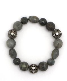 Labradorite and Rhinestone Beads Bracelet at Maverick Western Wear