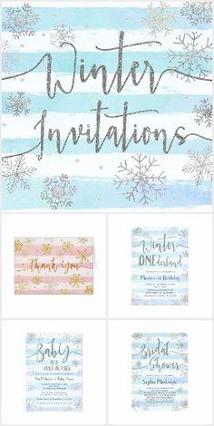 Winter Snowflakes Invitations