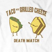 """""""Well, I think the grilled cheese sandwich - in a fair fight. But if it was prison rules, I'd put my money on the taco"""".  """"Wow, that's pretty racist but correct. I'll see you later""""."""