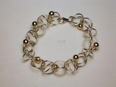 Bracelet. 925 Silver. Goldfill beads.
