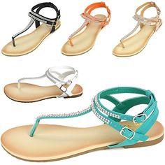 7d73da720cd8aa Alpine Swiss Womens Slingback TStrap Rhinestone Ankle Strap Thong Sandals   gt  gt  gt . Shoes ...