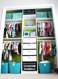 Baby boy nursery closet – DIY nursery decor – navy green gray – This is our Bliss Related Posts:Sophisticated Neutral Nursery: DIY Nursery Closet…Sophisticated Neutral Nursery: DIY Closet Progress Shared Closet, Boys Closet, Ikea Closet, Closet Bedroom, Kids Bedroom, Kids Rooms, Closet Storage, Pax Closet, Kids Wardrobe Storage