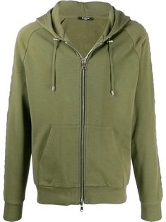 Khaki green cotton embossed logo zip-up hoodie from BALMAIN featuring a drawstring hood, long length raglan sleeves, an embossed logo, a front zip fastening, two front pockets and a ribbed hem and cuffs. Khaki Green, Embossed Logo, Green Cotton, Balmain, Hooded Jacket, Zip Ups, Ron Weasley, Hoodies, Sleeves