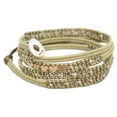 Chan Luu Rose Gold Hearts Wrap Bracelet