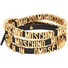 MOSCHINO Logo Lettering Leather Wrap Bracelet