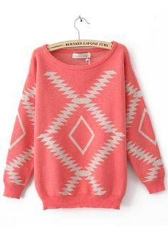 Geometric Diamond Pattern  Sweater Red