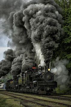 Three Shay at Cass railroad at full throttle Cass Shay #5, #11, #6 running full throttle (photo Mark Serfass)