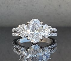 Split Shank Engagement Ring, 3 Stone Engagement Ring, 3 Stone Oval Engagement Ring, Oval Engagement Ring, 2ct Oval, Romance Custom Ring, Armentor Jewelers