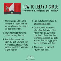 Delaying the grade: how to get students to read feedback high school classroom, english Teaching Writing, Teaching Strategies, Teaching Tips, Teaching English, Multiplication Strategies, Teaching French, Writing Tips, High School Classroom, English Classroom