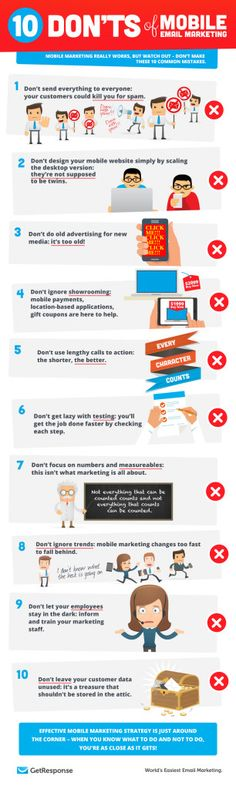 10 Don'ts of Mobile Email Marketing [Infographic] - GetResponse Blog - Email Marketing Tips