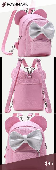 "Minnie Backpack For little girls or adults!! The mini backpack is all the craze right now!! Grab this great mini bag for your trip to Disney or to wear everyday. Such a special gift for a little girl heading to meet her friend Minnie Mouse!! H 8.3"" W 4.7"" L 7.1"" Accessories Bags"