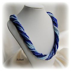 Blue multistrand necklace Seed bead necklace Statement by Szikati