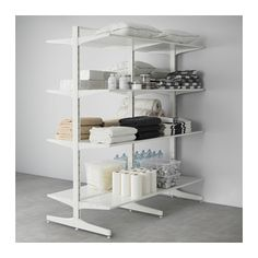 IKEA ALGOT Post/foot/shelves White cm The parts in the ALGOT series can be combined in many different ways and so can easily be adapted to. Ikea Algot, Consoles, Dressing Room Decor, Build A Closet, Dream Closets, Retail Space, Ladder Bookcase, Store Fronts, Plank