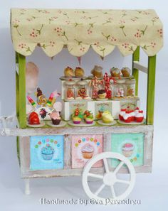 Miniature Cupcake shop cart for dollhouse by Evamini on Etsy.