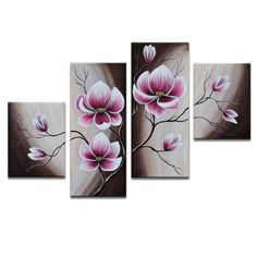 Abstract Flowers Oil Painting Hand-Painted Canvas Wall Art Handmade Oil Painting Four Panels Ready to Hang Oil Painting Flowers, Abstract Flowers, Oil Painting On Canvas, Flower Artwork, Spray Painting, Oil Paintings, Hand Painted Canvas, Canvas Wall Art, Canvas Frame