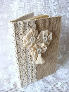 Burlap and Lace Guest Book Journal Diary Notebook por ShabbySoul, $26.00