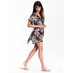 Old Navy Womens Palm Print Swim Cover Ups