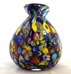 "MURANO~ITALY?~VINTAGE~RETRO~COBALT BLUE~MILLEFIORI~CASED~ART GLASS~VASE~4~1/4""H Lots more beautiful art glass available at: http://www.ebay.co.uk/usr/seraphimslair2"