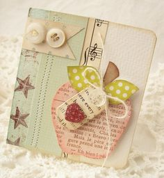 Items similar to SALE Blank Apple Handmade Card on Etsy