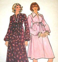 Uncut Maternity Sz 12 Butterick Pattern 4033 Vtg 1970s Collar Flare Disco Dress #Butterick #FlaredLongSleeveMaternityDress