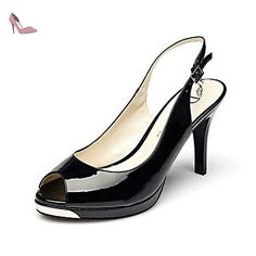 pwne Bottes Hiver Mary Jane Talon occasionnels PU Feather Black US5.5 / EU36 / UK3.5 / CN35 - Chaussures pwne (*Partner-Link)