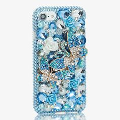 blue butterfly bling iphone 7 case