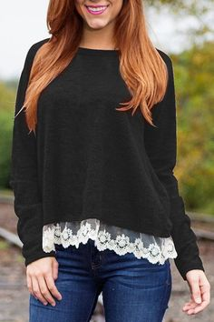 Brief Women's Slash Neck Laced Long Sleeve T-Shirt