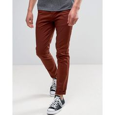 ASOS Skinny Chinos in Rust ($30) ❤ liked on Polyvore featuring men's fashion, men's clothing, men's pants, men's casual pants, brown, mens skinny pants, mens zipper pants, mens tall pants, mens skinny chino pants and mens chino pants