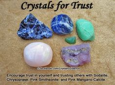 Crystal Healing: Crystals for encouraging Trust in yourself and trusting others ~ Sodalite, Chrysoprase, Pink Smithsonite, Pink Mangano Calcite